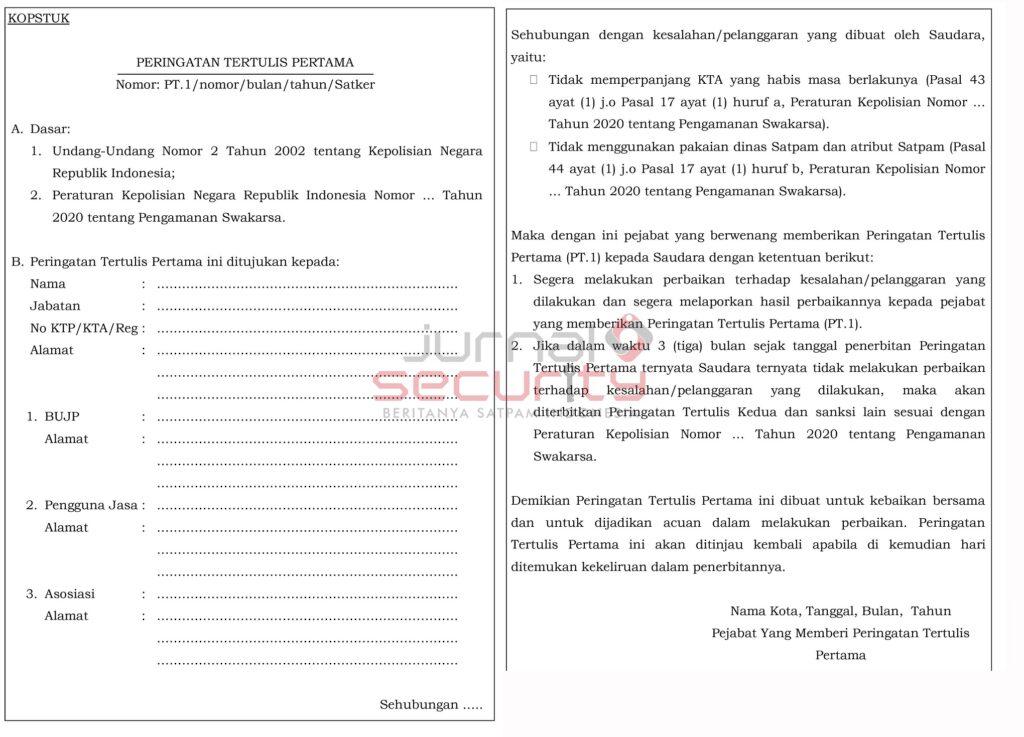 Gambar 1. Surat Peringatan Pertama Pencabutan KTA satpam