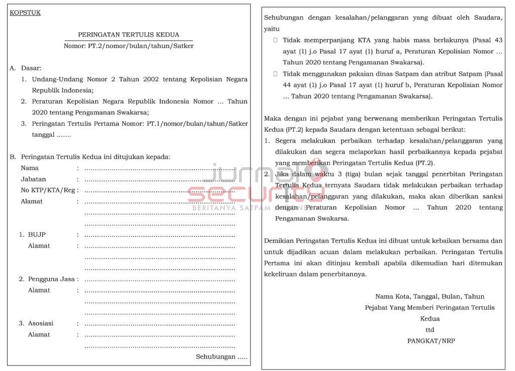 Gambar 2. Surat Peringatan Kedua Pencabutan KTA satpam